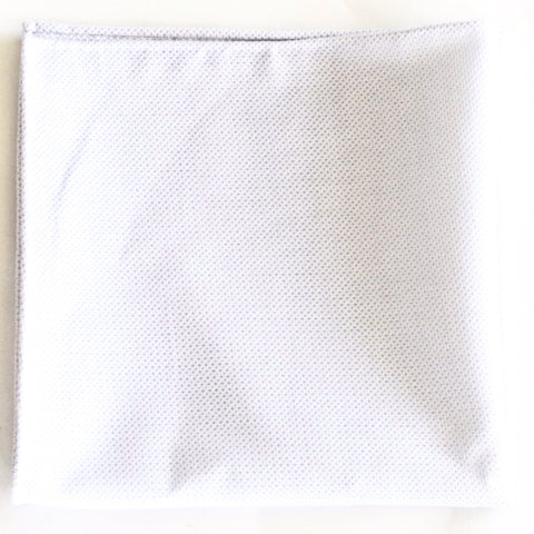 Loose Knit Woven White Cotton Pocket Square by Put This On