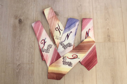 1940s Hand-Painted Monogram Ties - F, J, K & N