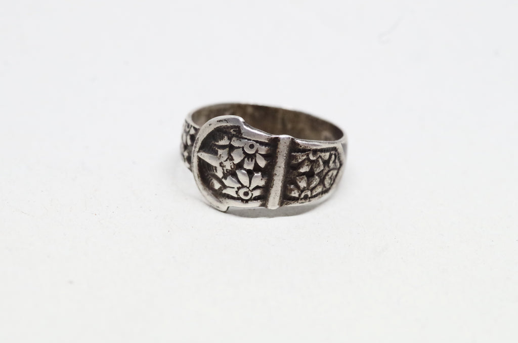 Sterling Silver Floral Belt RIng