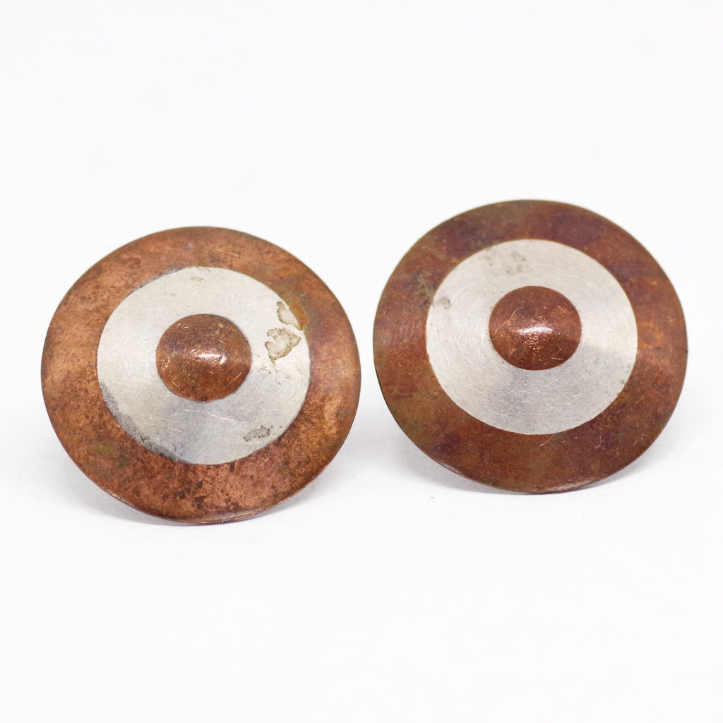 Sterling Mexican Silver & Copper Bullseye Cufflinks