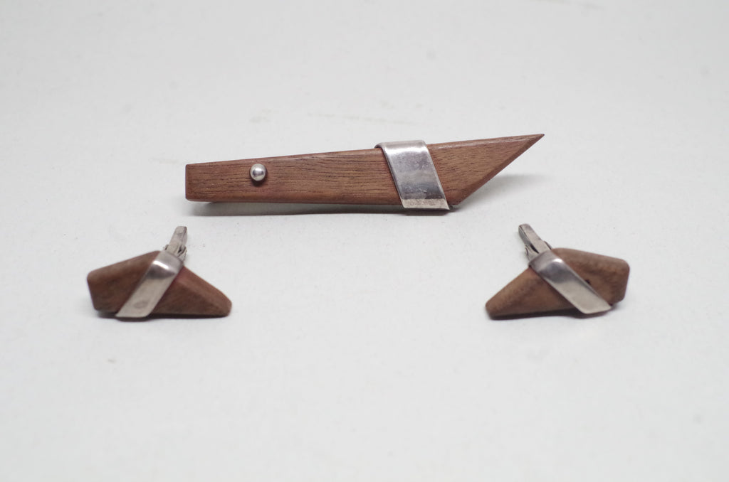 Wood and Sterling Silver Tie Bar and Cuff Links Dress Set