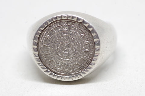 Sterling Silver Aztec Calendar Ring
