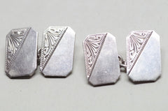 Sterling Silver Rectangle Art-Nouveau Cufflinks
