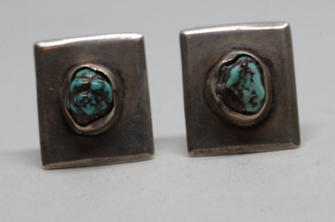 Rugged Silver and Turquoise Southwestern Cufflinks