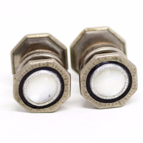 Hexagonal Black and Mother of Pearl Snap Cufflinks