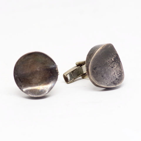 Grooved Modernist Mexican Sterling Cufflinks