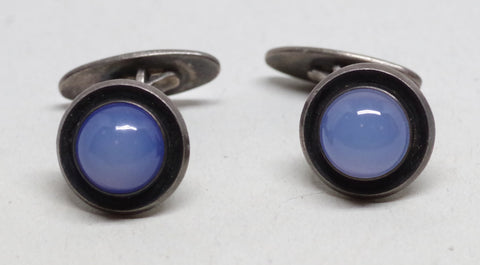 Niels Eric From Luminescent Moonstone and Sterling Silver Danish Cufflinks