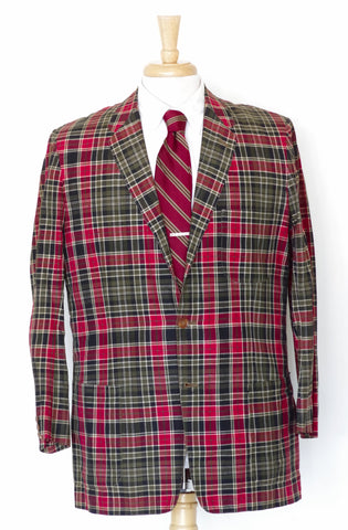 Vintage 1960s Ivy Style Madras Sport Coat 40R