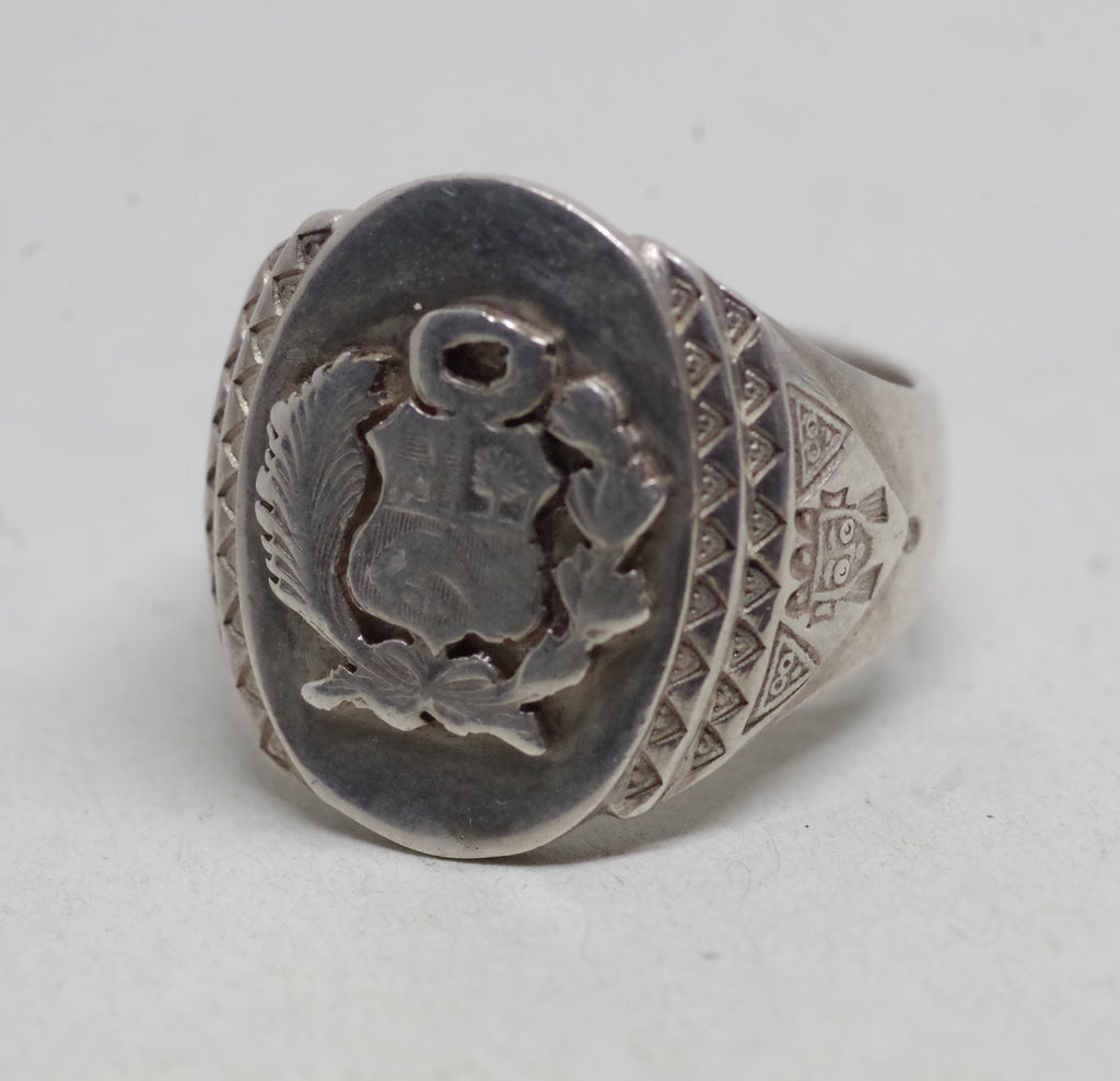 Sterling Silver Peruvian Coat of Arms Ring