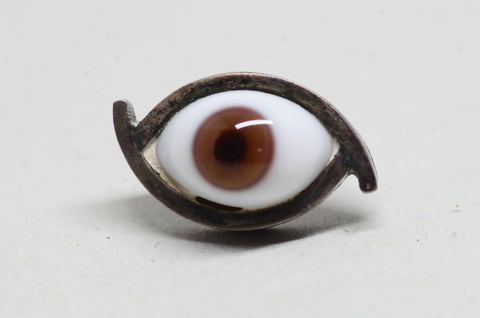 Taxco Sterling Silver Glass Eye Pin