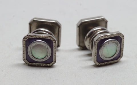 1920s Sterling Silver Pearl Snap Cufflinks