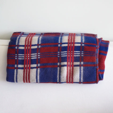 Vintage Blue and Rust Fleece Blanket
