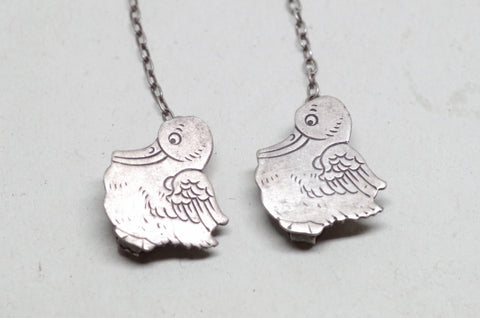 Sterling Silver Stork Bib or Sweater Clips