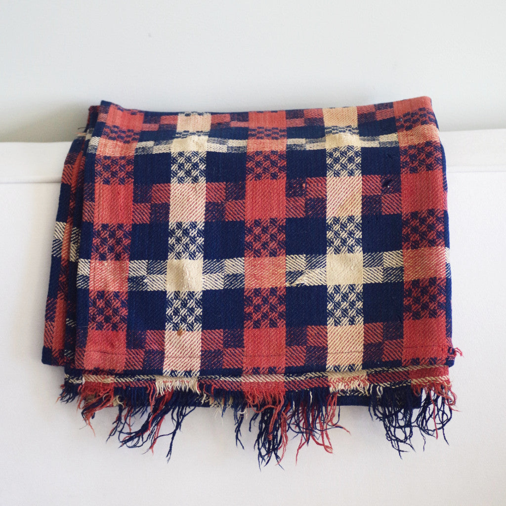 Antique Rust, Blue, and White Check Antique Wool Throw with Fringe