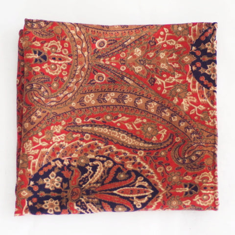 Ornate Autumnal Red, Gold, and Green Wool Pocket Square by Put This On