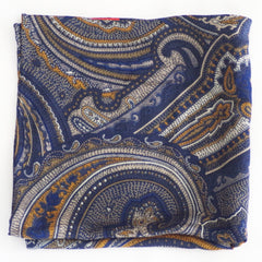 Ornate Blue, Gold, and White Wool Pocket Square by Put This On