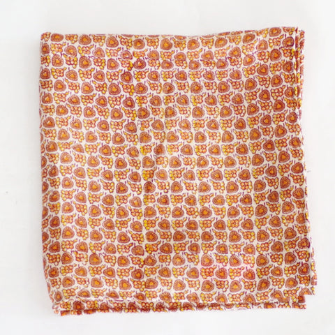 Bright Autumnal Yellow and Orange Floral Rayon Pocket Square by Put This On