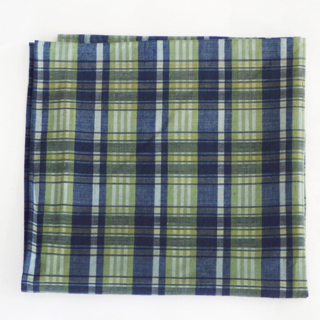 Cool Tone Green and Blue Tartan Cotton Pocket Square by Put This On