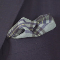 Marine Blue Tartan Cotton Pocket Square by Put This On