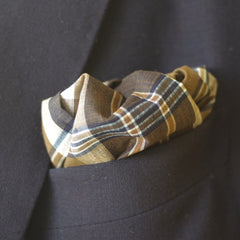 Earth Tone Brown and Blue Tartan Cotton Pocket Square by Put This On