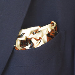 Earthy Cream, Brown, and Blue Cotton Pocket Square by Put This On