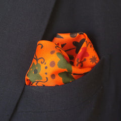 Bright Floral Orange, Red, and Green Silk Pocket Square by Put This On
