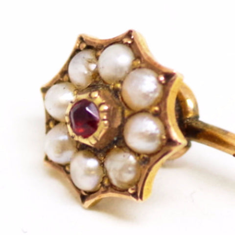 9ct Gold Stick Pin w/ Ruby and Pearls
