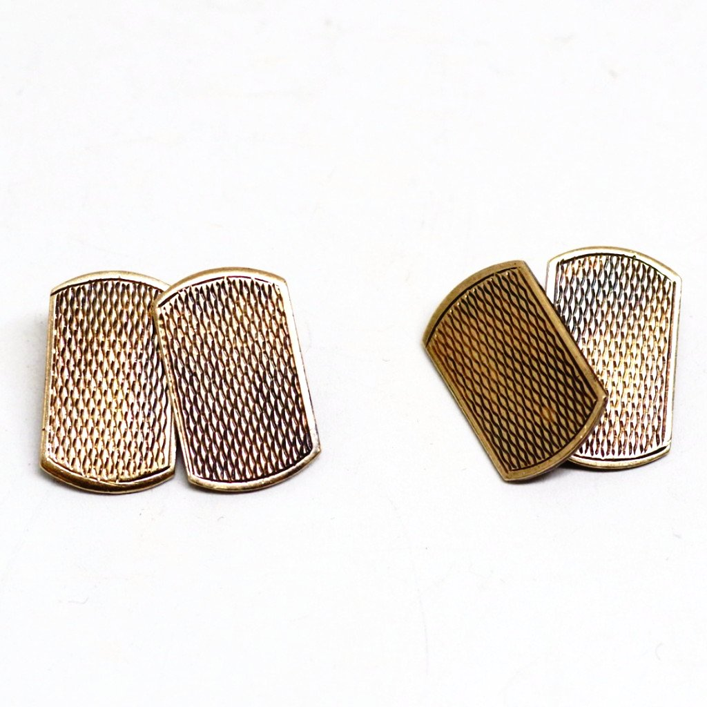 9ct Gold and Silver Edwardian Etched Cufflinks