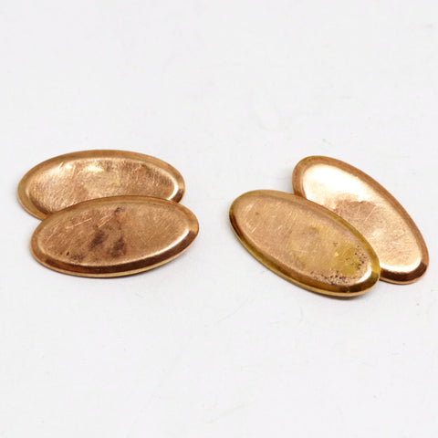 9kt Gold Edwardian Ovular Plain Faced Cufflinks