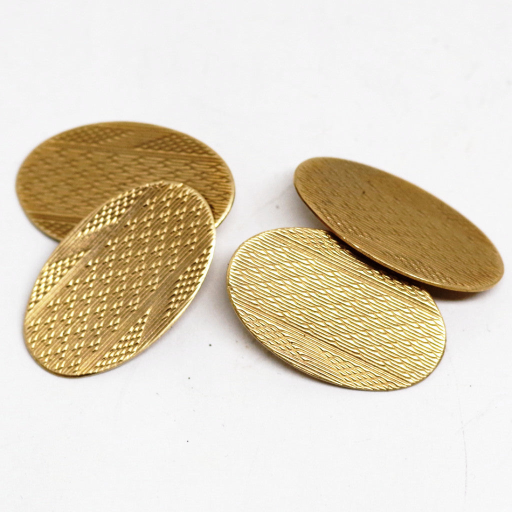 9ct Edwardian Multi-Pattern Etched Cufflinks
