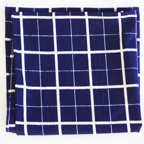 Bold Windowpane Indigo Cotton Pocket Square by Put This On