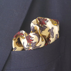 Autumnal Blue and Red Leaf Cotton Pocket Square by Put This On