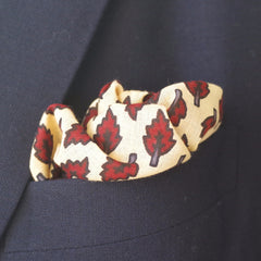 Crunchy Red Leaf Cotton Pocket Square by Put This On