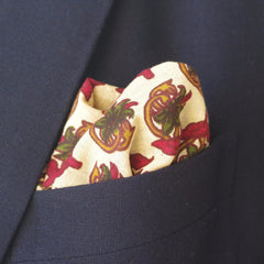 Autumnal Red and Green Leaf Cotton Pocket Square by Put This On