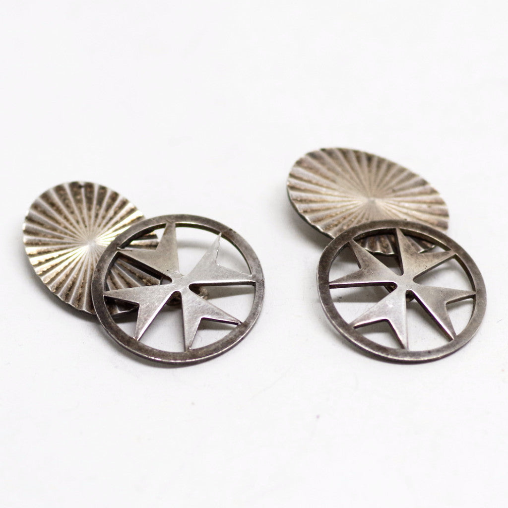 Pointed Cross Silver Cufflinks