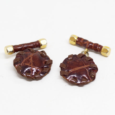 Stitched Leather Cufflinks