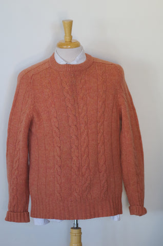 Salmon Alan Paine Cable Knit Shetland Sweater 44R