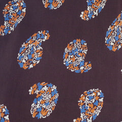 1940s Brown Floral Paisley Rayon Scarf