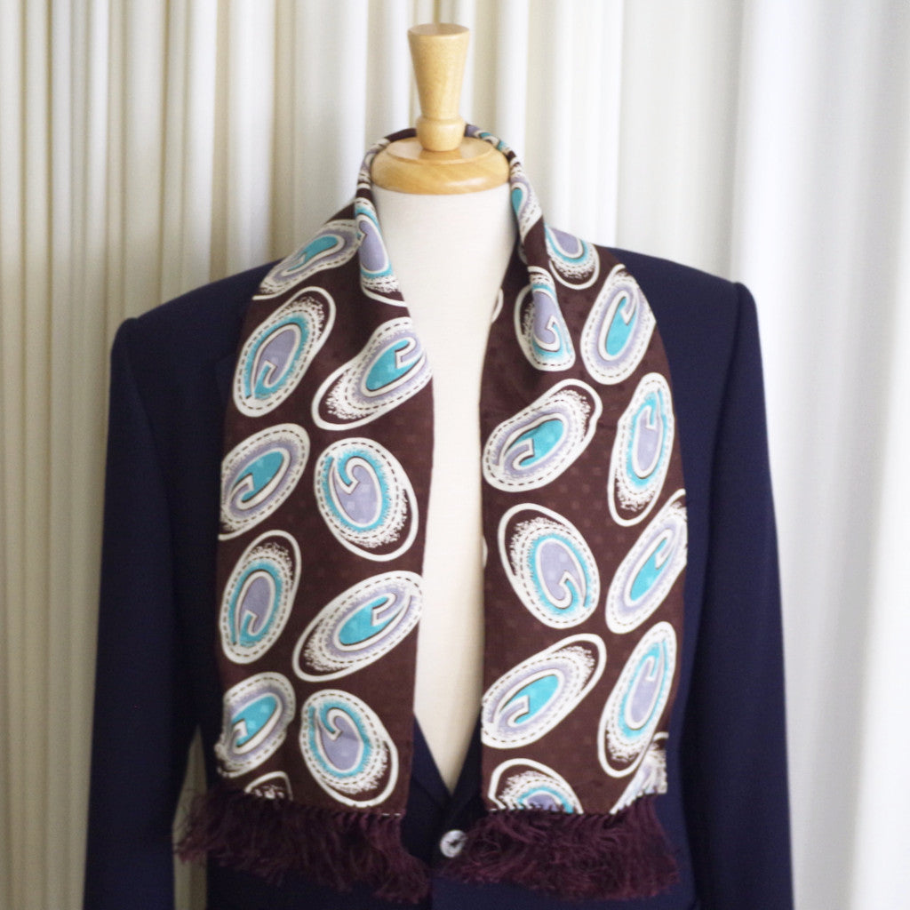 Vintage Funky Brown, White, and Green Rayon Scarf