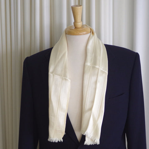 Striped Textured Cream Rayon Scarf