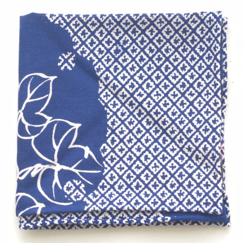 Multipattern Floral Navy Cotton Pocket Square by Put This On