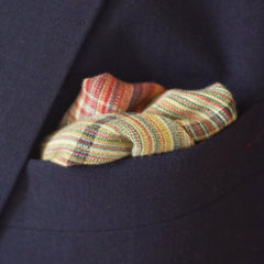 Fun Red and Green Checked and Striped Cotton Pocket Square by Put This On