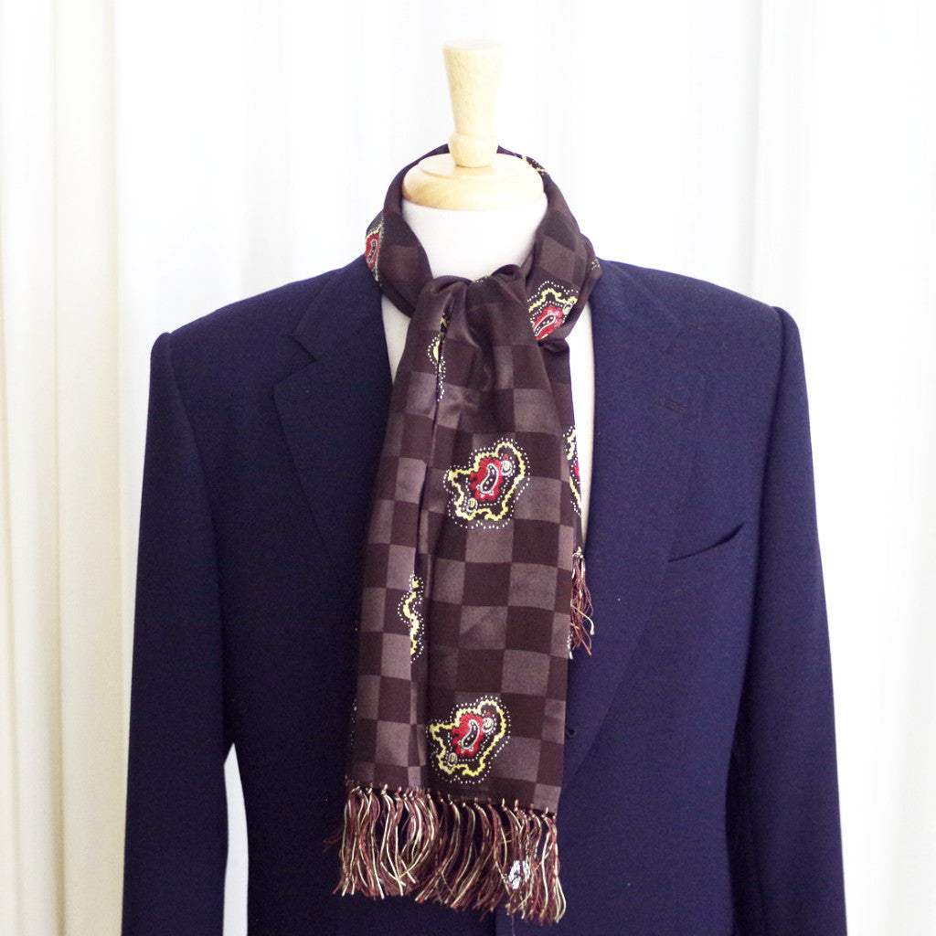 Vintage Brown Checkered Rayon Scarf