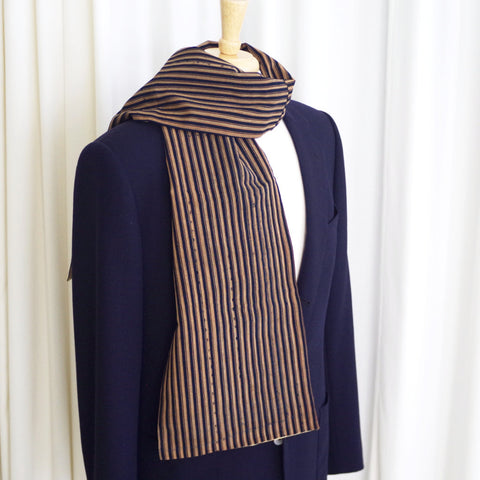 Golden and Indigo Striped Japanese Boro & Silk Scarf