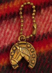 "Vintage 1950s ""Luck-Key"" 24kt Gold Plated Horseshoe Keychain"