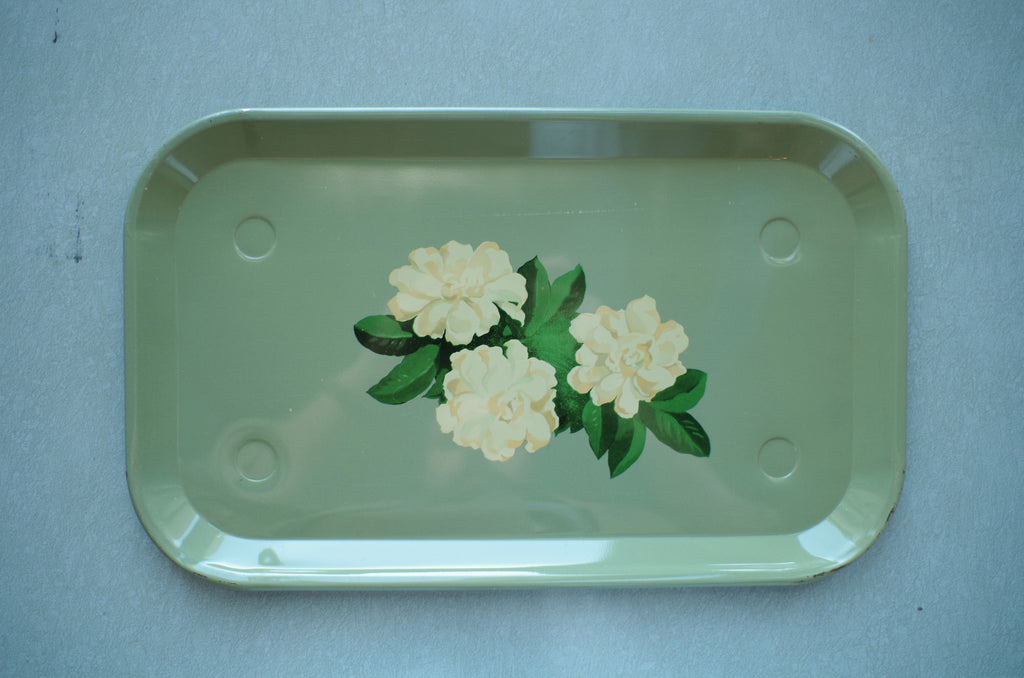 1940s Green Floral Metal Drink Trays