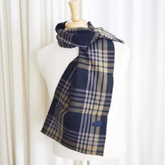 Checked Indigo Japanese Boro & Silk Scarf