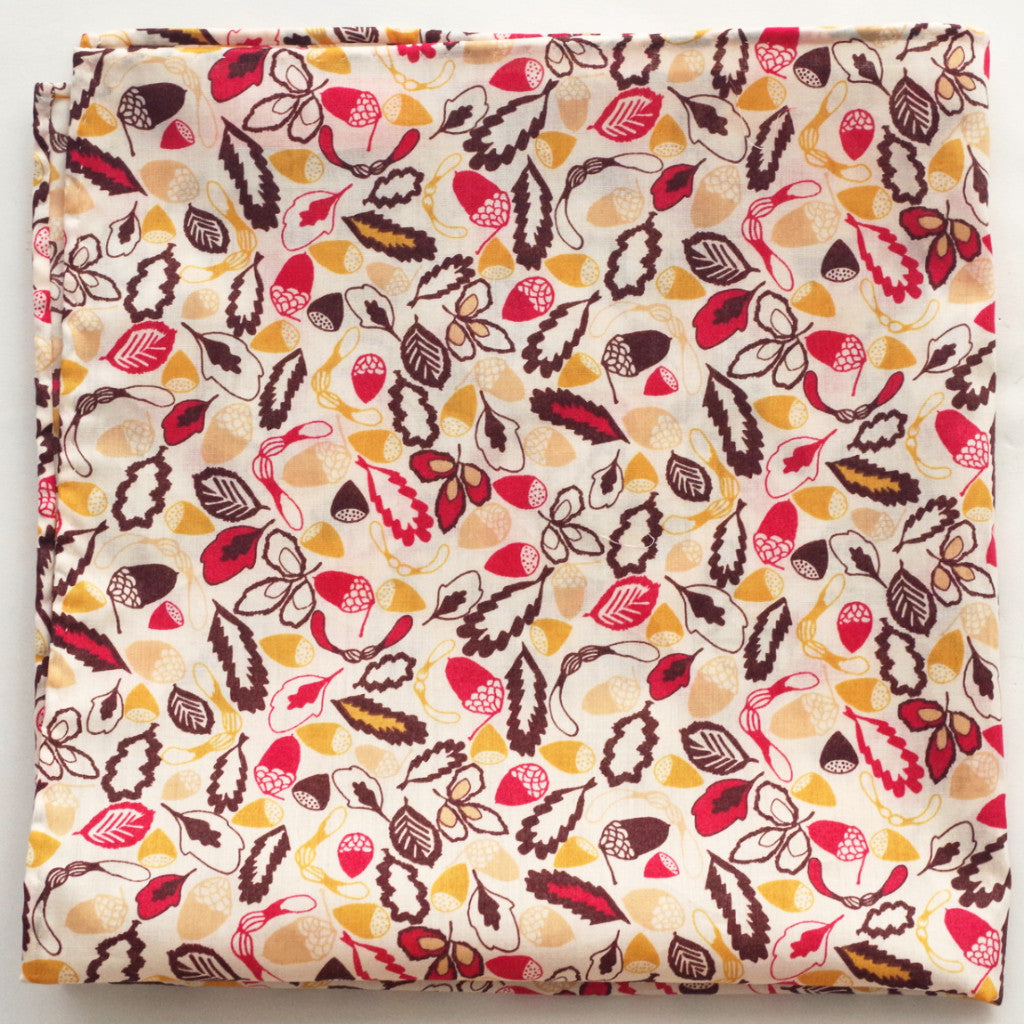 Vibrant Leaves and Acorns Cotton Pocket Square by Put This On