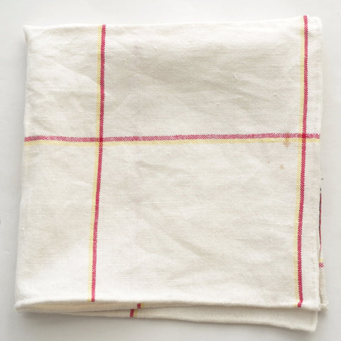 Rustic Red and Yellow Windowpane Linen Pocket Square by Put This On