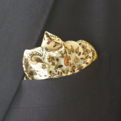 Creamy Yellow, White, and Brown Silk Pocket Square by Put This On